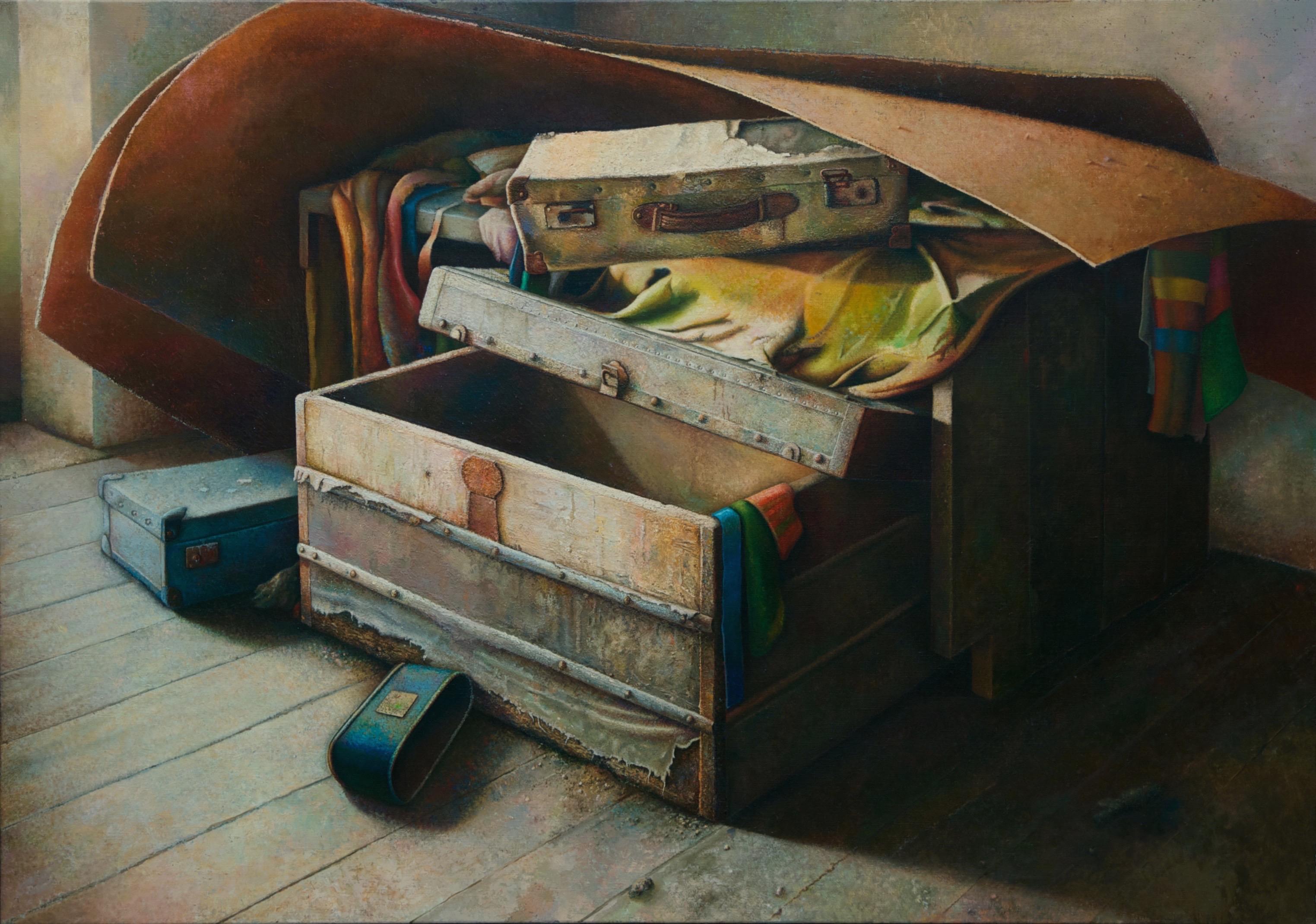 BAÚL Y MALETAS EN SOTO . Óleo sobre lienzo 146 x 114 cm. 2013-16